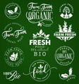 farm freshorganic and bio food labels and badges vector image vector image