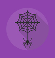 Halloween Flat Icon Spider with Cobweb vector image vector image