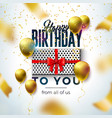 happy birthday design with balloon gift box and vector image