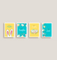 happy easter cute rabbit egg doodle card set vector image vector image