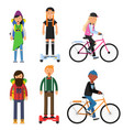 hipsters make a trip bicycles riders vector image vector image