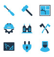 industrial icons colored set with builder drawing vector image