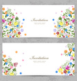 invitation cards with cute floral for your design vector image vector image