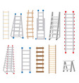 ladders set made from different materials wood vector image
