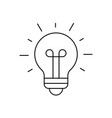 light bulb shining icon on white background vector image vector image