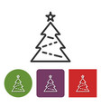 line icon of christmas tree in different variants vector image vector image