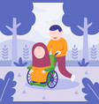 man helping her mom in wheelchair happy family vector image