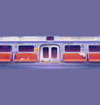 metro in getto empty subway interior with graffiti vector image vector image