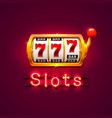 neon golden slot machine wins the jackpot vector image vector image