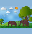 paper art style of landscape with elephant and vector image