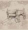 pencil drawing old cart on a beige background vector image vector image