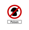 prohibition sign for poisonous mushrooms on white vector image vector image