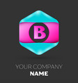 realistic letter b logo in colorful hexagonal vector image vector image