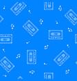 retro cassette seamless pattern music concept vector image vector image