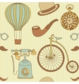 seamless pattern with different retro objects vector image