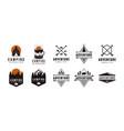 set badge seal mountain adventure outdoor logo vector image