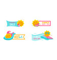 set hot summer sale banners with cute cartoon vector image