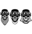 set of biker skulls on white background design vector image