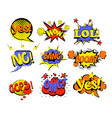 set of comic text pop art vector image vector image