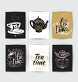 set of tea pot silhouettes with quotes tea party vector image vector image