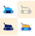 smart pool cleaner icon set in flat and line style vector image