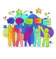 social friend group colorful gradient chat bubbles vector image