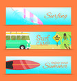 summer set of banners surfing vector image vector image