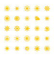 sun flat icons vector image vector image