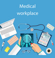 top view of doctor workplace vector image