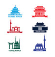 travel to korea icons set collection of vector image vector image