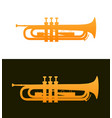 trumpet - jazz music instrument with good details vector image vector image