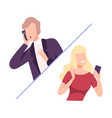 two business people communicating with each other vector image