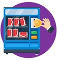 vending machine with hand drop gold dollar vector image