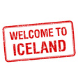 welcome to Iceland red grunge square stamp vector image vector image
