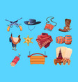 western cartoon elements wild west cowboy boots vector image
