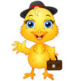 yellow chick cartoon character wearing a hat and h vector image vector image