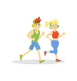 Young man and woman with headphones running in