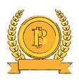 golden bitcoin icon digital symbol vector image