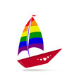 a ship with sails and a red board color lgbt vector image vector image