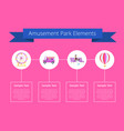 amusement park elements poster vector image