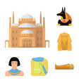 ancient egypt cartoon icons in set collection for vector image