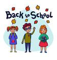 back to school funny children with schoolbooks vector image vector image