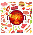 bbq party icons meat veggies vector image vector image