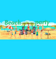 beach party youth dances and drinks on beach vector image