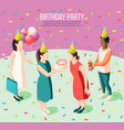 birthday party isometric poster vector image vector image
