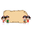 blank map with four pirates vector image vector image