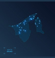 brunei map with cities luminous dots - neon vector image vector image