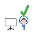 businessman character holding up green check mark vector image