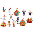 circus performance decorative icons set with vector image