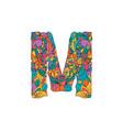 colorful ornamental alphabet letter m font vector image